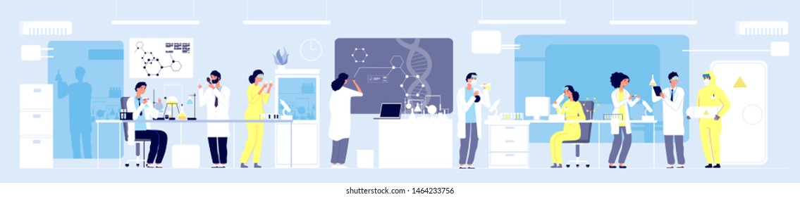 Science researching lab. Professional scientists chemical researchers working with lab equipment. Molecular engineering vector concept. Illustration medical lab, research experiment biology molecular