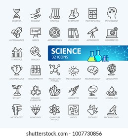 Science, scientific activity elements - minimal thin line web icon set. Outline icons collection. Simple vector illustration.