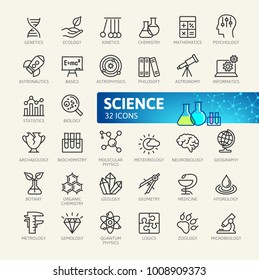 Science, scientific activityelements - minimal thin line web icon set. Outline icons collection. Simple vector illustration.