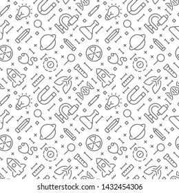 Science seamless pattern with outline icons. Vector eps 10