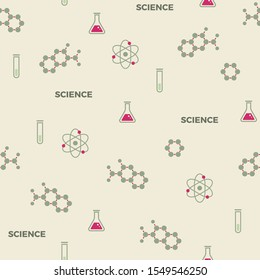 Science seamless pattern. Retro style vector scientific background, cute vintage chemistry, physics or biology template for wrapping paper, web design, patchwork, sewing or sheet fabric