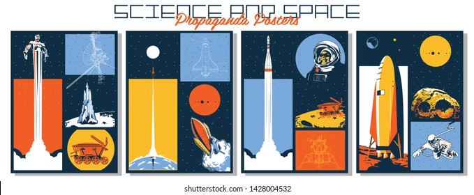 Science and Space Propaganda Posters Set, Astronauts, Space Rockets, Satellite and Heavenly Bodies