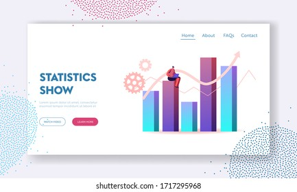 Science Statistics or Audit Analysis Inspection Landing Page Template. Woman Character with Laptop Sit on Huge Column Chart Analysing Accounting Data, Earnings, Savings. Cartoon Vector Illustration
