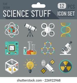 Science stuff icon set. Flat design long shadow. Vector illustration.