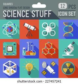 Science stuff squares icon set. Flat design long shadow. Vector illustration.