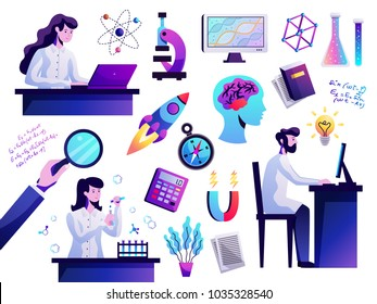 Science symbols abstract colorful icons set with young researcher behind computer atom model microscope isolated vector illustration