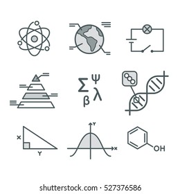 Science symbols set. Mathematical functions, chemistry and biology, geography and physics. Abstract science vector infographic elements.