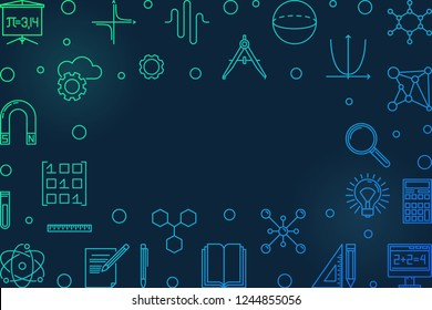 Science, technology, engineering and math blue horizontal frame. Vector STEM creative illustration in outline style on dark background