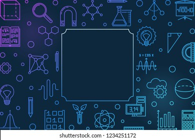 Science, Technology, Engineering and Mathematics creative horizontal frame. Vector STEM colored outline illustration style on dark background