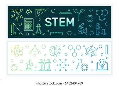 Science, Technology, Engineering and Mathematics vector concept linear colored banners