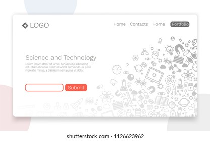 Science and Technology, icon background, Landing page concept. Vector illustration