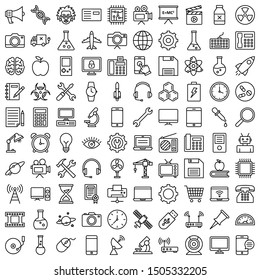 Science and Technology Isolated Vector Icons Set fully editable and can be modified