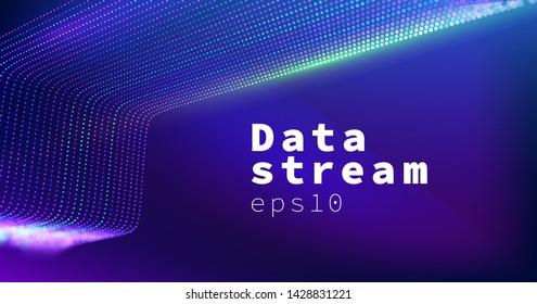 Science technology vector background. Data stream. Datacenter wide grid network