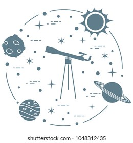 Science: telescope, sun, moon, planets, stars. Space exploration. Astronomy.
