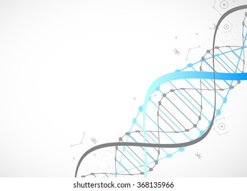 Science template, blue wallpaper or banner with a DNA molecules. Vector illustration.
