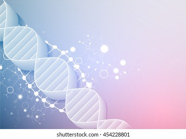 Science Template Wallpaper Or Banner With A 3D DNA Molecules Vector Illustration