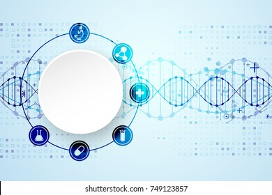 science template wallpaper banner dna molecules stock vector