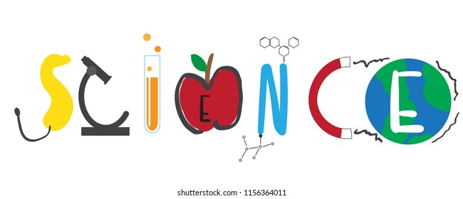 Science text word in stem science technology  chemical physics astronomy biology with earth environment colorful kid chirldren  education concept on white background isolated eps10 vector illustration