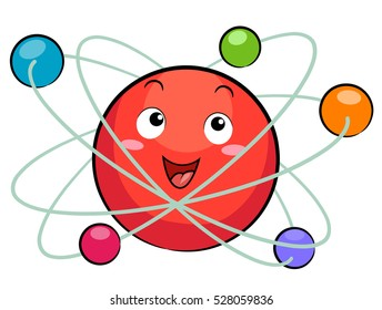 Science Themed Illustration Featuring a Colorful Atomic Model Mascot Composed of Electrons, Protons, Neutrons, and Orbits