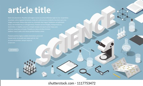 Science themed landing page vector isometric illustration. Big word science surrounded with chemical laboratory objects - microscope, test tubes, flasks, beaker, glasses, book, magnifier, tablet.