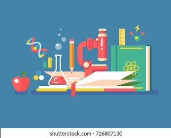 Science tools for education. Book study knowledge and microscope for research and learning, vector illustration