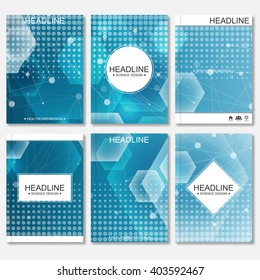 Science vector background. Modern vector templates for brochure, flyer, cover magazine or report in A4 size. Molecule structure and communication on the blue background.