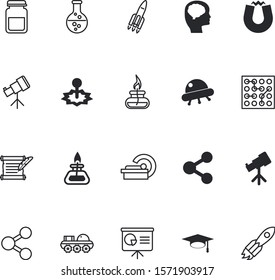 science vector icon set such as: grow, radiologist, planet, drug, stock, letter, horseshoe, flight, electrical, high, growth, text, rocketship, fluid, sales, ufo, cpu, negative, danger, quill, ufos