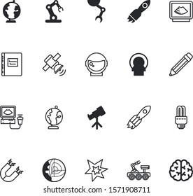 science vector icon set such as: save, manufacture, halogen, attract, control, engine, caution, x-ray, geophysics, incandescent, encyclopedia, cosmonaut, office, doctor, lunar, spark, lamps, ray