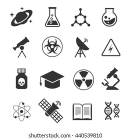 Science vector icons. Science of icons set atom and dna, technology science medical and chemistry illustration