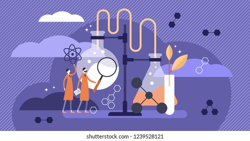 Science vector illustration. Medical pharmacy Industry example with scientists. Purple flat stylized laboratory where people are exploring, learning, building knowledge and gathering research data.