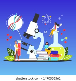 Science web banner concept. Idea of education and knowledge. Chemistry experiment and research. Microscope in laboratory. Vector illustration in cartoon style