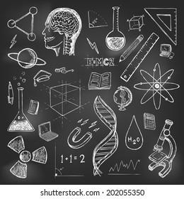 Sciences doodles icons vector on school board