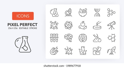 Sciences. Thin line icon set. Outline symbol collection. Editable vector stroke. 256x256 Pixel Perfect scalable to 128px, 64px...