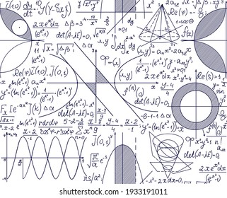Scienific handwritten vector seamless pattern with math and physics formulas, calculations, plots.