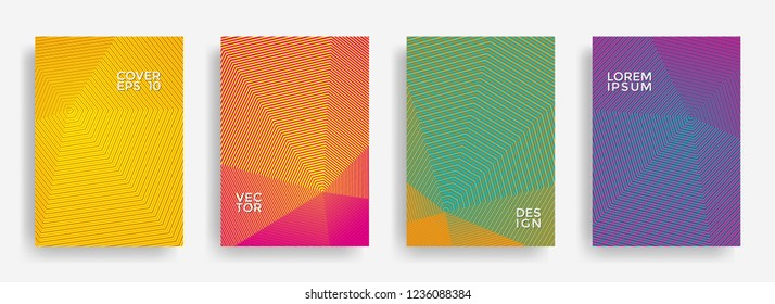 Scientific annual report design vector collection. Gradient halftone grid texture cover page layout templates set. Report covers geometric design, business brochure pages corporate templates.