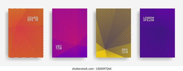 Scientific annual report design vector collection. Halftone stripes texture cover page layout templates set. Report covers graphic design, business brochure pages corporate templates.