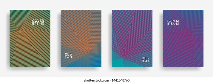 Scientific annual report design vector collection. Halftone grid texture cover page layout templates set. Report covers geometric design, business brochure pages corporate backgrounds.