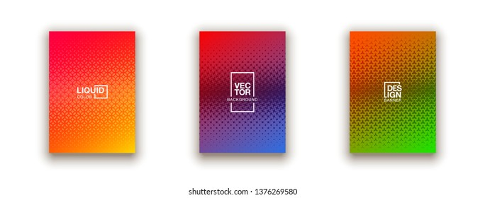 Scientific annual report geometric design collection. Halftone line texture cover page layout templates set. Report covers geometric graphic design, business brochure pages corporate template.
