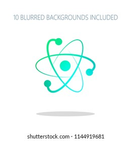 scientific atom symbol, logo, simple icon. Colorful logo concept with simple shadow on white. 10 different blurred backgrounds included