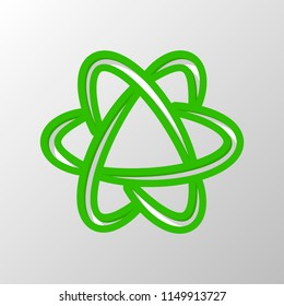 scientific atom symbol, logo, simple icon. Paper style. Cut symbol with green bold contour on shape and simple shadow