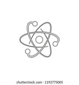 scientific atom symbol, logo, simple icon. Dotted outline silhouette with shadow on white background