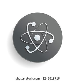 scientific atom symbol, logo, simple icon. White paper symbol on gray round button or badge with shadow