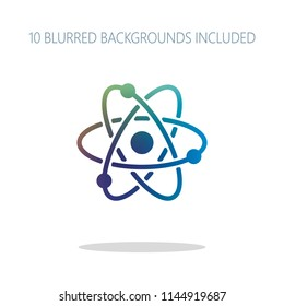 scientific atom symbol, simple icon. Colorful logo concept with simple shadow on white. 10 different blurred backgrounds included