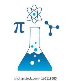 Scientific Beaker Icon with Pi, Atom, and Molecule Symbols