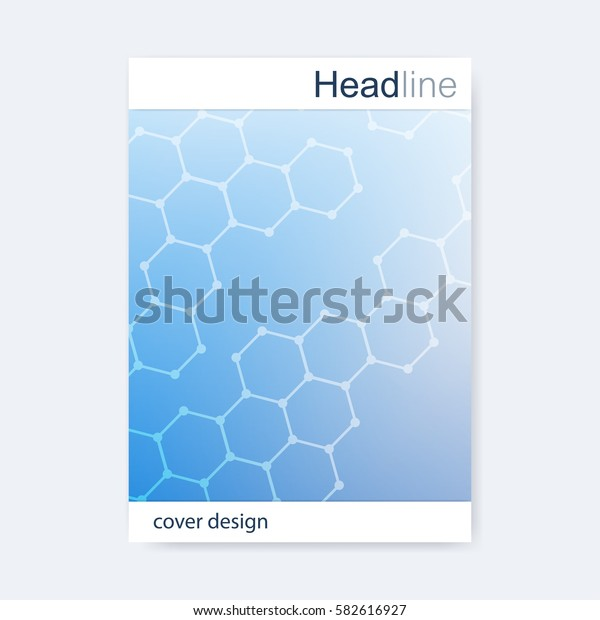 Scientific brochure design template. Vector flyer layout, Molecular structure with connected lines and dots. Scientific pattern atom DNA with elements for magazine, leaflet, cover, poster design.