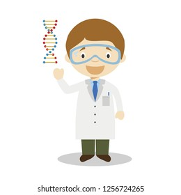 Scientific cartoon character representing the medical breakthroughs of DNA discovery. Vector Illustration. Kids History Collection.