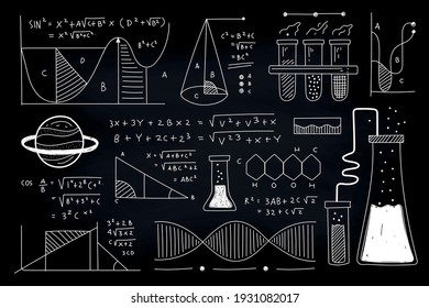 scientific and chemistry formulas and geometry vector illustration