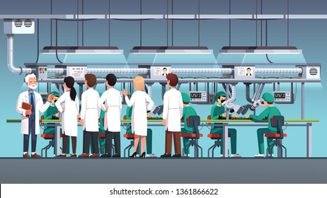 Scientific engineers wearing lab coats inspecting or visiting with excursion at electronics factory assembly line or engineering laboratory leaded by elder manager. Flat vector interior illustration