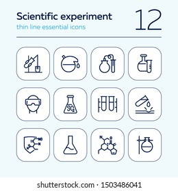 Scientific experiment icon. Set of line icon on white background. Chemical reaction, laboratory equipment, research. Chemistry concept. Vector can be used for topics like medicine, education, science