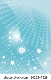 Scientific futuristic interface digital screen blue and white light with technology shapes, lines, circles, and lines dotted. Circuit boards dots in corner. on blue background. Vector illustration
